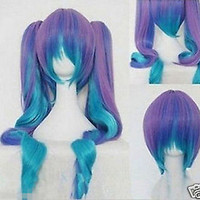 Gothic Lolita Wig + 2 Pig Tails Set Pastel Rainbow Blend Cosplay wig wigs
