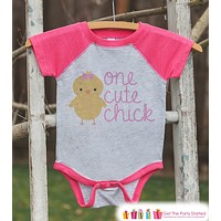 Girl's Easter Outfit - One Cute Chick Pink Raglan Shirt - Pink Baby Girls Easter Spring Onepiece or Tshirt - Novelty Raglan Tee for Girls