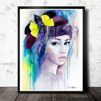 Butterfly Girl watercolor painting print, Fashion Illustration, animal watercolor, butterfly watercolor, watercolor portrait