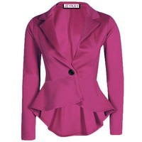 Solid Color Irregular Flounced Women¨¹s Blazer