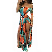 Monserrat Floral Off Shoulder Beach High Low Split Maxi Romper in Orange