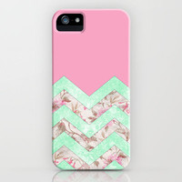 Girly Mint Green Pink Floral Block Chevron Pattern iPhone Case by Girly Trend | Society6