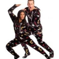 Kung-Fu Adult Footed Onesuits Pajamas