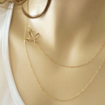 14k Gold Layered Necklace, Sideways Bird Necklace, Layered Gold Necklace Set