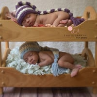 Striped Long Tail Newborn Twin Baby Hat Set. His & Hers Purple and Blue Striped Crochet Baby Photo Prop Elf Hat
