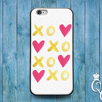 iPhone 4 4s 5 5s 5c 6 6s plus iPod Touch 4th 5th 6th Generation Cute Gold Pink White Heart XO Cool Phone Cover Pretty Girly Girl Custom Case