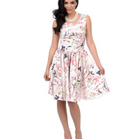 Unique Vintage Roman Holiday Ivory Floral Scalloped Swing Dress