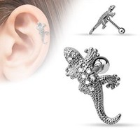 Cz Paved Lizard 316l Surgical Steel Geckotragus/cartilage Piercing Stud 16g 1/4