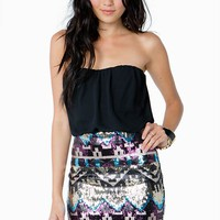 Sequined Aztec Blouson Mini Dress
