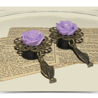 Virgin Mary Purple Rose Day of the Dead Flower Plugs for Gauged Ears - (6mm 8mm10mm12mm 14mm 16mm 18mm  / 00g, 0g, 2g, 4g, 6g) choose size