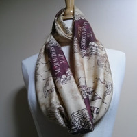 Marauders Map, Infinity Scarf, Harry Potter, Scarf, TootSweetSkirts LOVE Please Read Listing for Holiday Shipment!