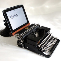 Sold - Typewriter Computer Tablet Keyboard with USB hookup - Vintage Royal Portable - With Tablet Stand,  Computer Keyboard