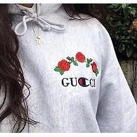 GUCCI : Champion Classic Popular Women Men Rose Flower Embroidery Sweater Grey Hoodie Pullover Top Sweatshirt Grey
