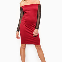 Off The Shoulder Mesh Body Con Wednesday Dress