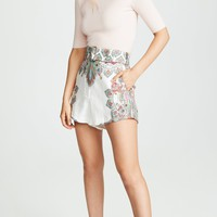 Cream Paisley Print Shorts