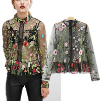 2017 Long Sleeve Floral Women's Fashion Shirt Blouse Tops [10907675151]