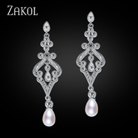 ZAKOL Design Vintage Palace Style Oval Imitation Pearl White Gold Plated CZ Diamond Bridal Long Dangle Earrings Jewelry FSEP215