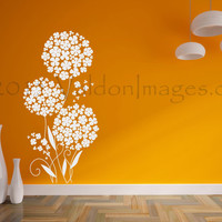 Pixie flower wall decal, dandelion wall decal, tree wall decal, bedroom wall decal, dorm room wall decor, nursery decor, nursery wall decal