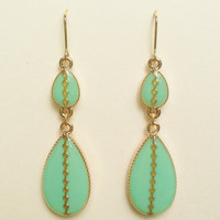 Turquoise Green Teardrop Earrings with Gold Line with Small Dot, Turquoise Green Resin Earrings, Hypoallergenic, Resin Jewelry For Her