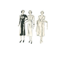 1930s Misses Dress Wrap Around Skirt Sewing Pattern Long or 3/4 Sleeves, Surplice Bodice Size 16 Bust 34 Butterick 7568