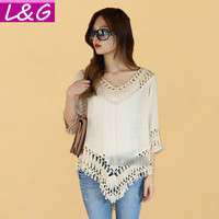 Women Blouses Summer Style Hollow Lace Crochet Kimono Blouse Plus Size Ladies Shirt Tops Blusa Feminina Ropa Mujer 40305
