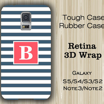 Teen Navy Blue Stripes Monogram Samsung Galaxy S5/S4/S3/Note 3/Note 2 Case