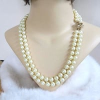 Vintage 2 Strand Cream Faux Pearls Necklace with Atomic Design Clasp