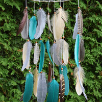 Teal Gray Nursery Decor, Dream Catcher  Baby Mobile, Woodland Nursery Mobile, Native American Tribal Style