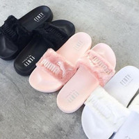 "Fashion ""PUMA"" Rihanna Fenty Leadcat Fur Slipper Shoes (4- colors) [8843752268]"