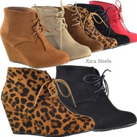 Womens Ankle Boots Wedge Heel Almond Toe Faux Suede Lace Up Booties Shoes New
