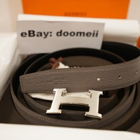 AUTHENTIC HERMES H BELT BUCKLE REVERSIBLE LEATHER STRAP 32 MM SIZE 90 BLACK GRAY