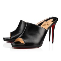 Cl Christian Louboutin Pigamule Black Leather 18s Sandals 1181020bk01 - Best Online Sale