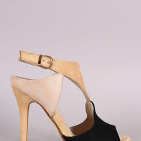 Cutout Block Color Peep Toe Stiletto Heel