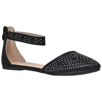 Womens Ballet Flats Rhinestone Pointed Toe Ankle Strap Flat Shoes Black