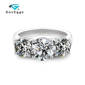 DovEggs Classic simplicity 3 Stone Engagement Ring for Women Center 2ct 8mm Slight Grey Moissanite  Sterling Solid 925 Silver