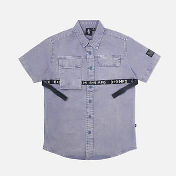 Strapped Up Vintage  Button Up Shirt Blue