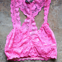 Fiona Lace Bralette, Hot Pink