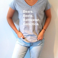 Bears Beets Battlestar Galactica V-neck T-shirt For Women the office tv show tees
