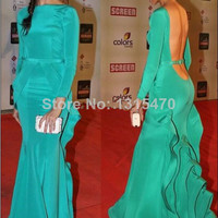 Mermaid High Neck Long Sleeves Open Back Evening Gowns
