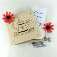 Flower Press - Wood Pyrography - Watering can Plant Press