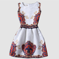 Solid Vintage Print Sleeveless A-Line Mini Dress