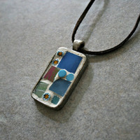 Etsy Mosaic Pendant - Valerie - Blue Green, Wearable Art, Handmade Pendant, For Her, Stained Glass, Gift, Antique Pewter, Chain Included