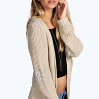 Holly Diamante Heart Elbow Patch Cardigan