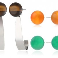 8-8.5mm Tiger-Eye, Emerald Green Agate and Carnelian Sterling Silver Stud Earrings with Jackets