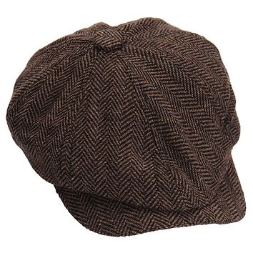 Fashion Octagonal Cap Newsboy Beret Hat Autumn And Winter Hats For Men's Coffee Color Handsome Plaid Casual Hat Beret Cap