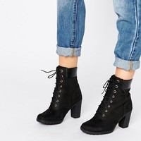 Timberland Glancy Black 6 Inch Heeled Boots at asos.com