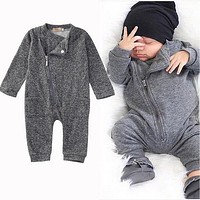 Newborn Kids Baby Boy Girls Clothes Infant Romper Jumpsuit Long Sleeve Gray Clothing Outfits Baby Boys