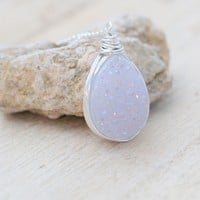 White Druzy Teardrop Necklace  - Sterling Silver