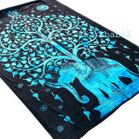 Twin Cotton Elephant Tapestry Wall Hanging Indian Bedspread Hippie Bohemian Throw Ethnic Home Decorative Art