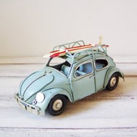 Mint buggy miniature, vintage, VW Beetle, collectible miniature car with surfboard, beach decor bug car, boho decor car, early nineties